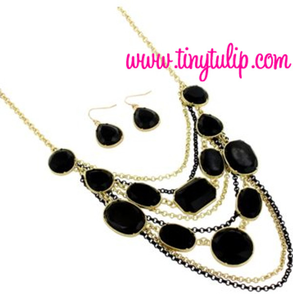 Layered Gem Chain Necklace & Earring Set  www.tinytulip.com Black