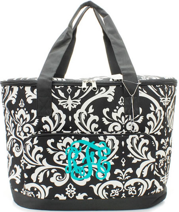 Monogrammed Damask Large Cooler Bag  www.tinytulip.com Black Trim with Turquoise Interlocking Font