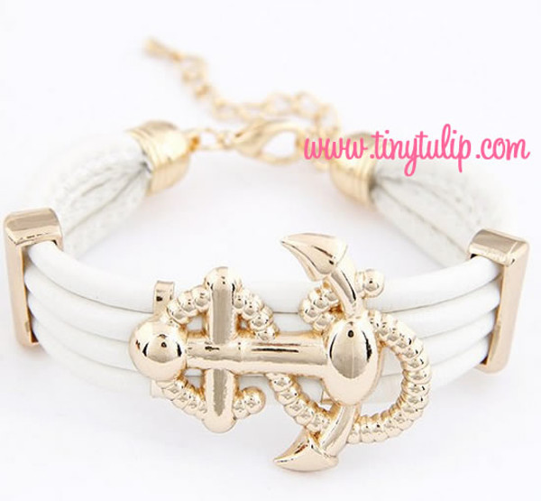 Anchor Faux Leather Bracelet Free Shipping  www.tinytulip.com White