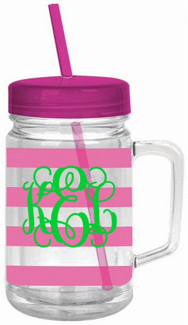 Monogrammed Double Wall Acrylic Stripe Mason Jar Tumbler  www.tinytulip.com Pink with Lime Green Interlocking Font