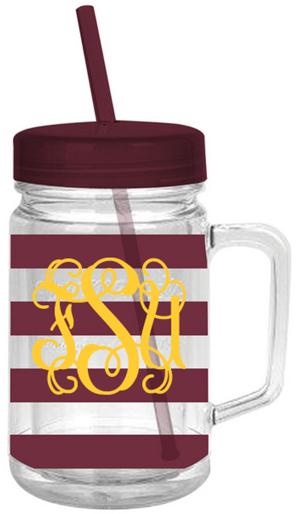 Monogrammed Double Wall Acrylic Stripe Mason Jar Tumbler  www.tinytulip.com Garnet with Yellow Interlocking Font