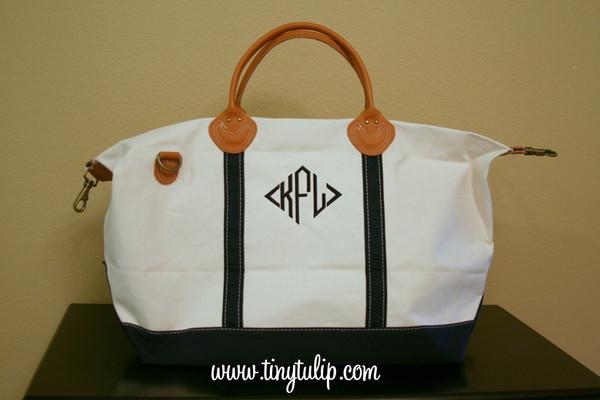 Monogrammed Navy Classic Satchel Duffle Weekender Bag