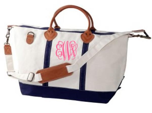 Monogrammed Navy Classic Satchel Duffle Travel Bag www.tinytulip.com