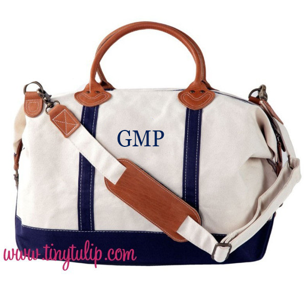 Monogrammed Navy Classic Satchel Duffle Travel Bag www.tinytulip.com Mens Monogram Style with Navy Classic Block Font