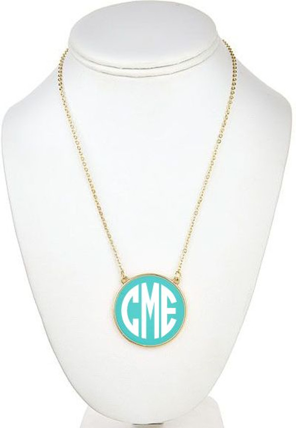 Monogrammed Enamel Disc Necklace Free Shipping  www.tinytulip.com Turquoise with White Monogram