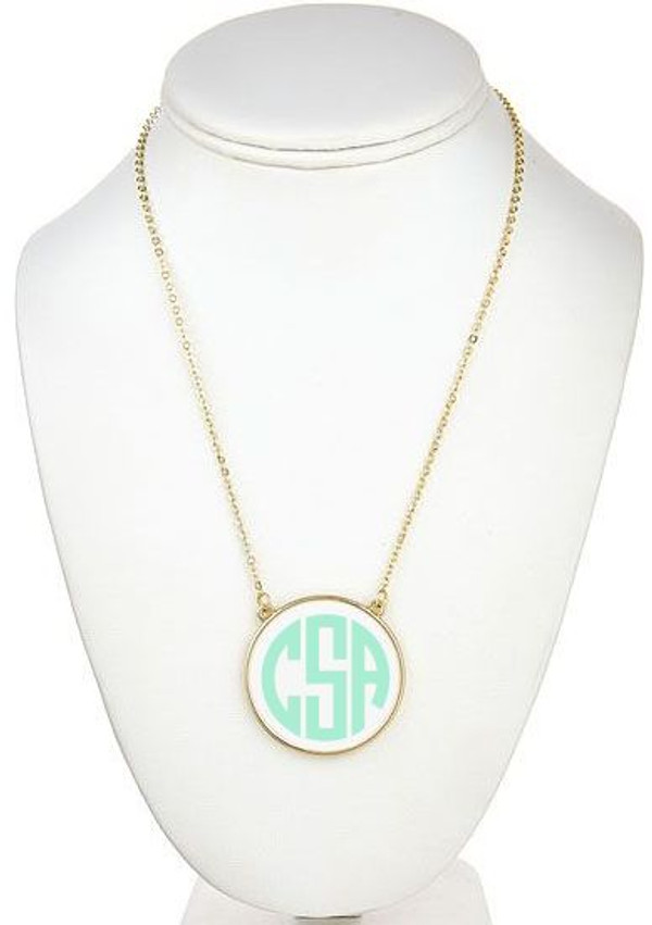 Monogrammed Enamel Disc Necklace Free Shipping  www.tinytulip.com White with Mint Monogram