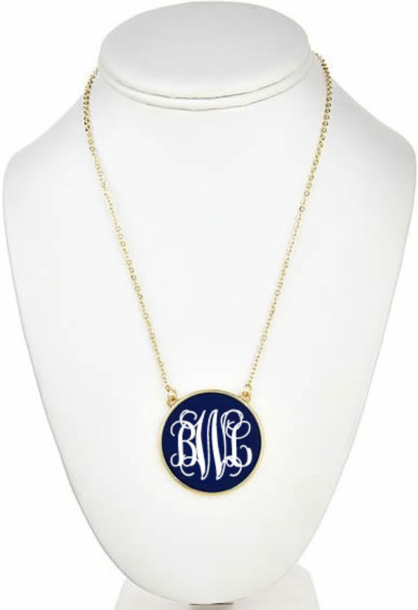 Monogrammed Enamel Disc Necklace Free Shipping  www.tinytulip.com Navy with White Script Monogram