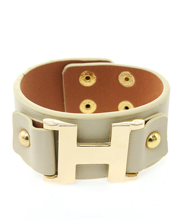 Faux Leather Wrap Bracelet Free Shipping www.tinytulip.com Beige