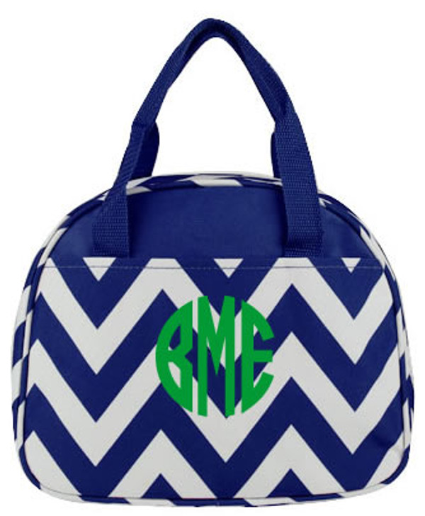 Monogrammed Chevron Lunch Tote  www.tinytulip.com Navy with Kelly Green Circle Font