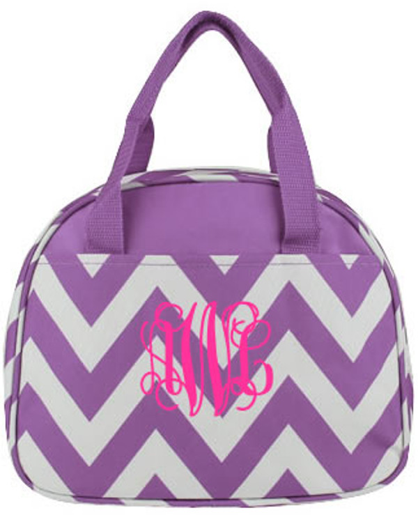 Monogrammed Chevron Lunch Tote  www.tinytulip.com Purple with Hot Pink Interlocking Font