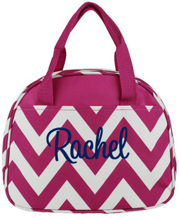 Monogrammed Chevron Lunch Tote  www.tinytulip.com Hot Pink with Navy Cursive Font