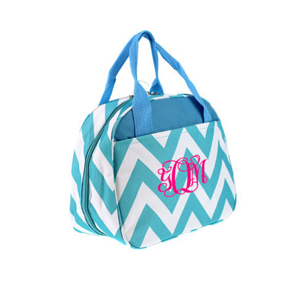 Monogrammed Chevron Lunch Tote  www.tinytulip.com Aqua with Hot Pink Interlocking Font