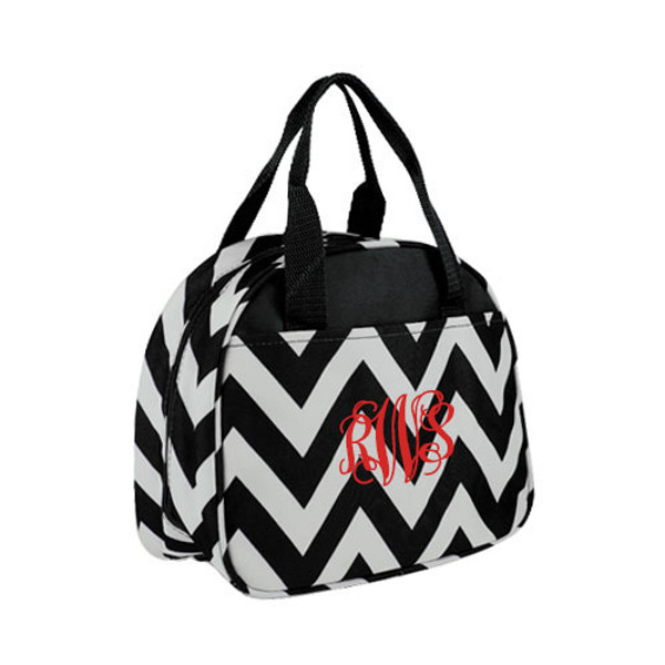 Monogrammed Chevron Lunch Tote  www.tinytulip.com Black with Red Interlocking Font
