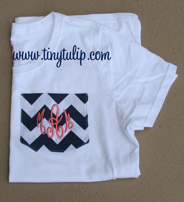 Monogrammed Chevron Pocket TShirt  www.tinytulip.com Navy Chevron Pocket with Coral Empire Font