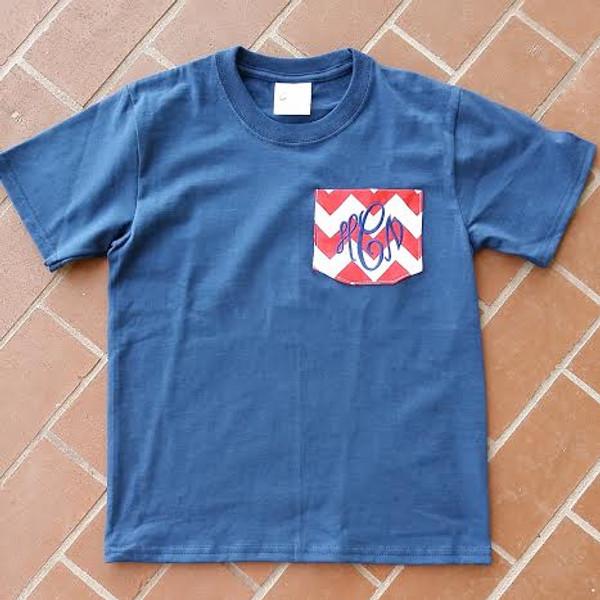 Monogrammed Chevron Pocket TShirt