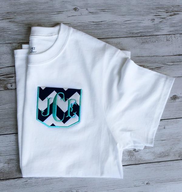 Monogrammed Chevron Pocket TShirt  www.tinytulip.com Navy Chevron Pocket with Mint Fishtail Font