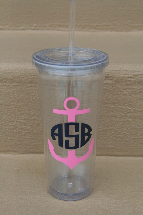 Monogrammed Nautical Decal Cups  www.tinytulip.com Anchor