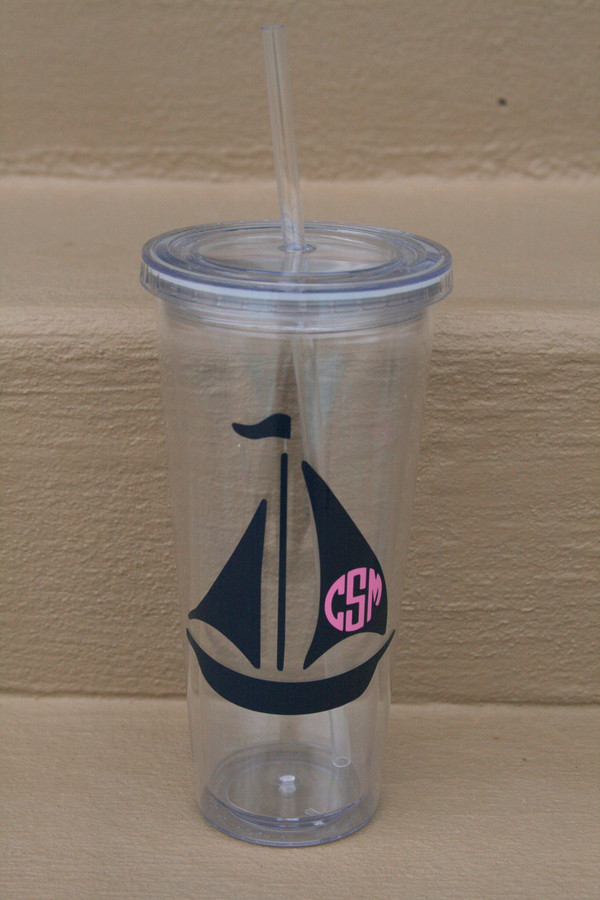 Monogrammed Nautical Decal Cups  www.tinytulip.com Sailboat