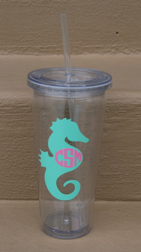 Monogrammed Nautical Decal Cups  www.tinytulip.com Seahorse