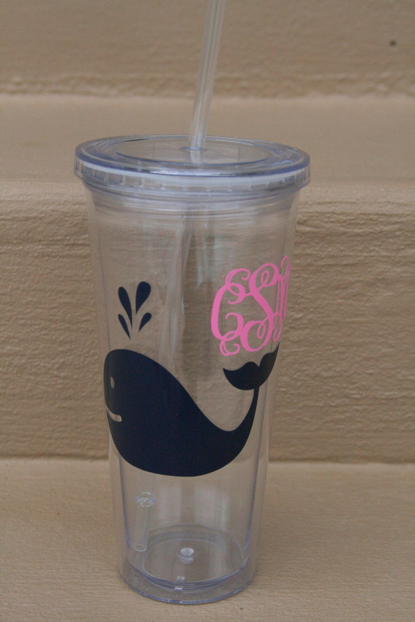 Monogrammed Nautical Decal Cups  www.tinytulip.com Whale