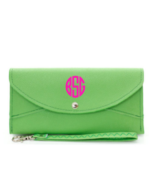 Monogrammed Snap Closure Wristlet Wallet  www.tinytulip.com Lime Green Wallet Hot Pink Circle Font