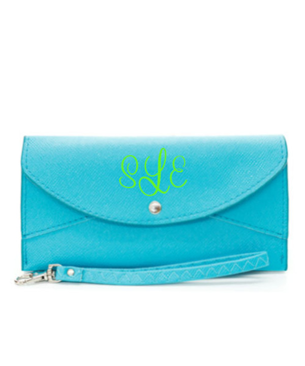 Monogrammed Snap Closure Wristlet Wallet  www.tinytulip.com Turquoise Wallet Lime Green Cursive Font