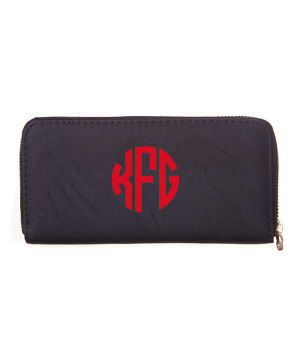 Monogrammed Zipper Wristlet Wallet  www.tinytulip.com Black Wallet Red Circle Font