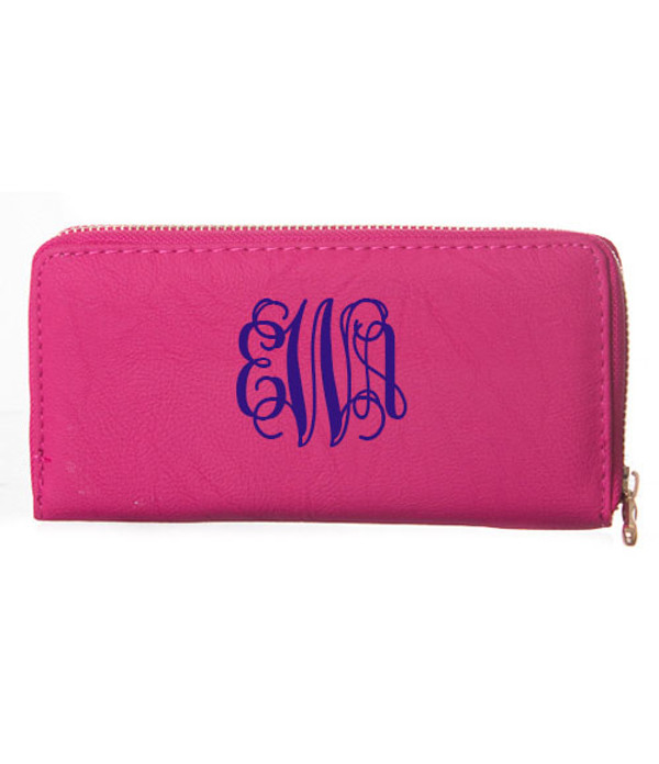 Monogrammed Zipper Wristlet Wallet  www.tinytulip.com Hot Pink Wallet Navy Interlocking Font