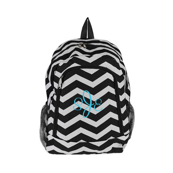 Monogrammed Chevron Print Backpack www.tinytulip.com Black Backpack with Turquoise Cursive Font