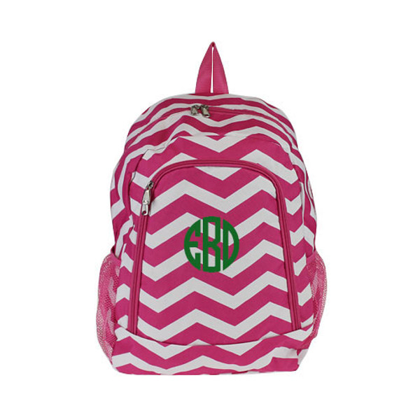 Monogrammed Chevron Print Backpack www.tinytulip.com Hot Pink Backpack with Kelly Green Circle Font