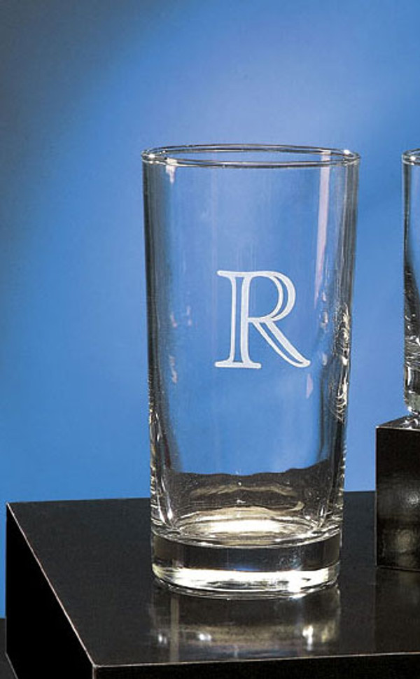 Monogrammed 13 ounce Engraved Beverage Glass www.tinytulip.com