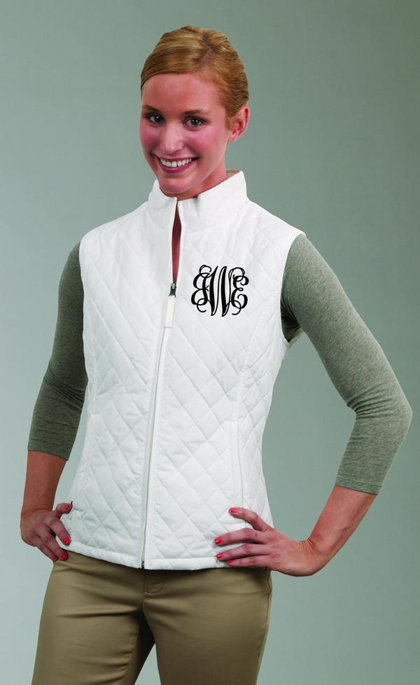 Monogrammed Quilted Vest www.tinytulip.com