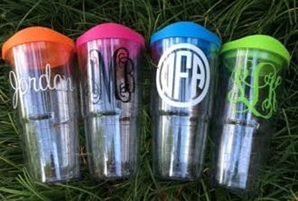 Monogrammed Acrylic Double Wall Tumbler with Lid www.tinytulip.com