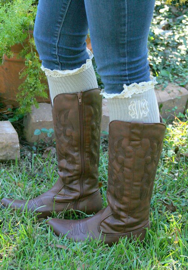 Monogrammed Crochet Lace Boot Socks Leg Warmers www.tinytulip.com Taupe with Cream Interlocking Monogram