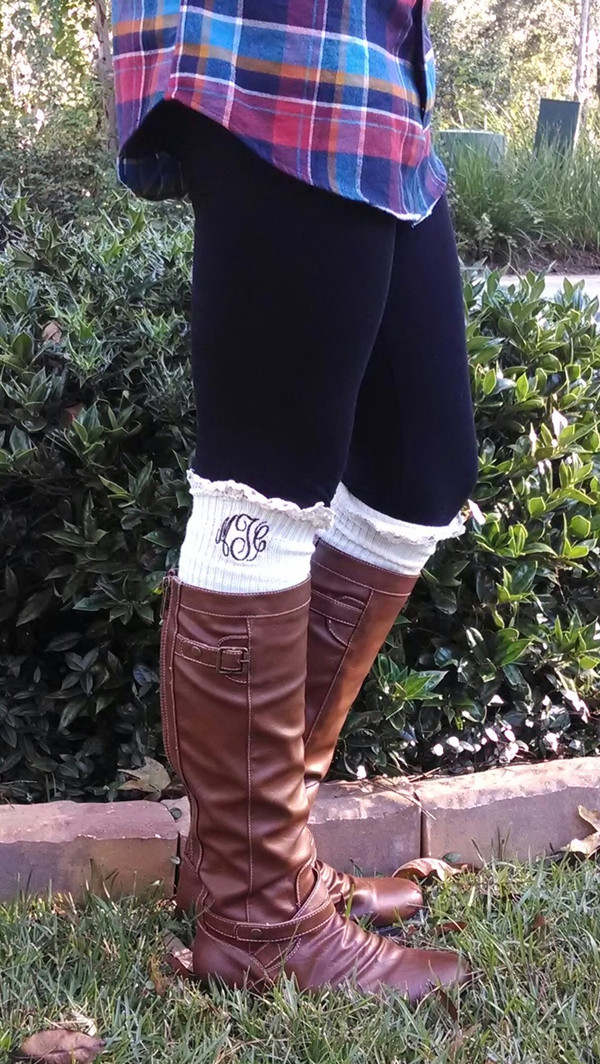 Monogrammed Crochet Lace Boot Socks Leg Warmers www.tinytulip.com Ivory with Brown Master Script Font