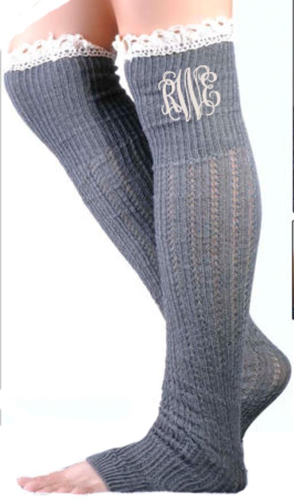 Monogrammed Crochet Lace Boot Socks Leg Warmers www.tinytulip.com Gray with Cream Interlcoking Font
