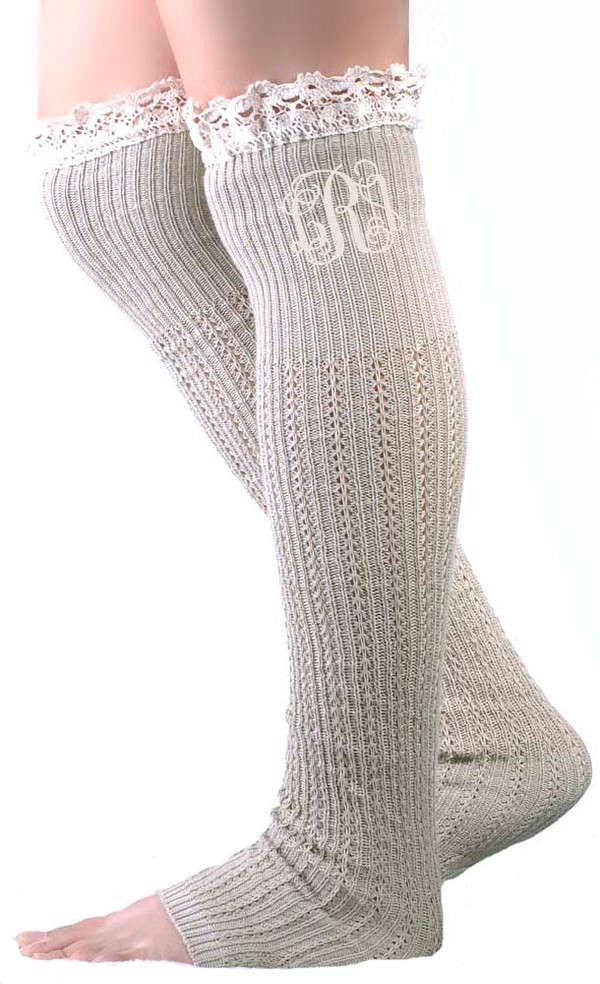 Monogrammed Crochet Lace Boot Socks Leg Warmers www.tinytulip.com Taupe with Cream Interlcoking Font