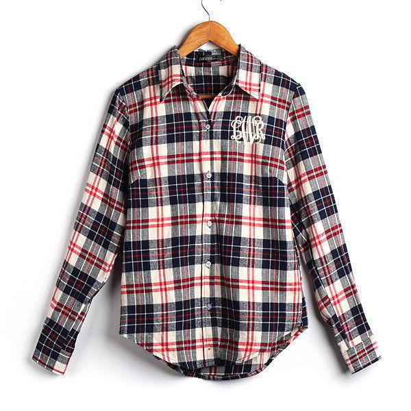 Monogrammed Ladies Plaid Flannel Shirt