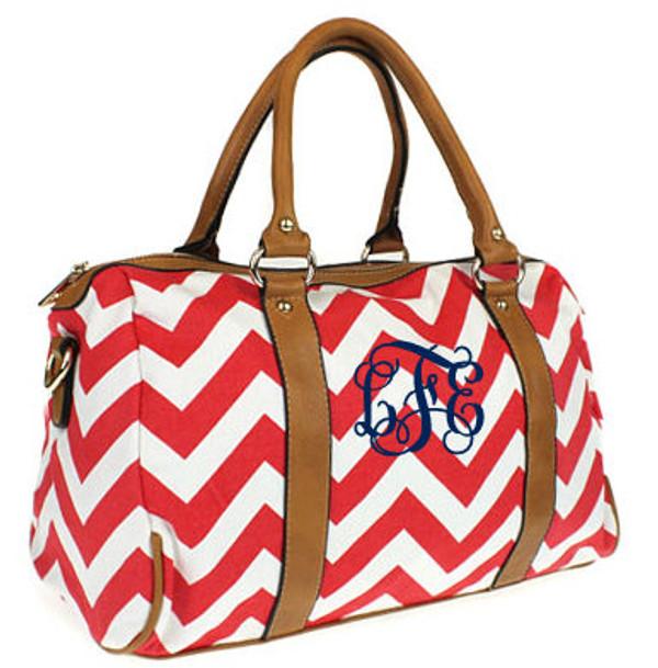 Monogrammed Chevron Satchel Bag www.tinytulip.com Red Chevron