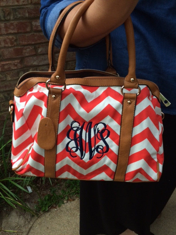 Monogrammed Chevron Satchel Bag www.tinytulip.com
