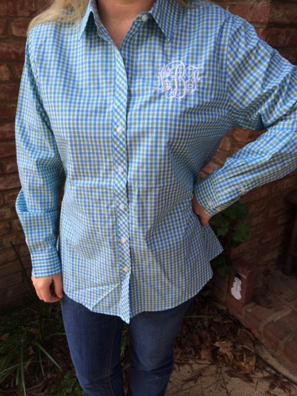 Monogrammed Ladies Gingham Plaid Shirt www.tinytulip.com