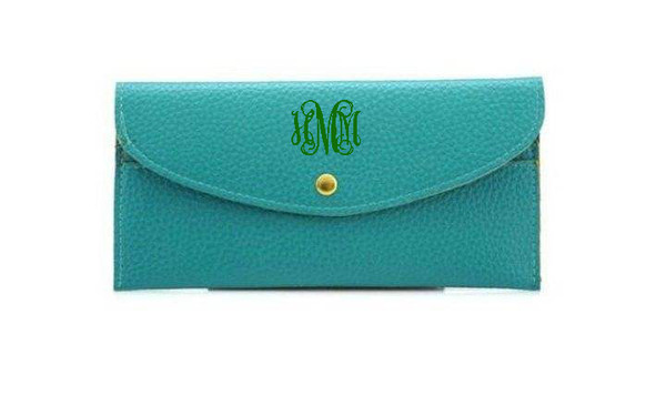 Monogrammed Snap Credit Card Wallet   www.tinytulip.com Turquoise with Kelly Green Interlocking Font