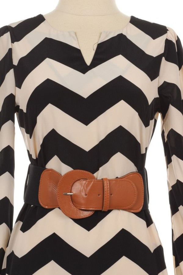 Black Chevron Belted Dress