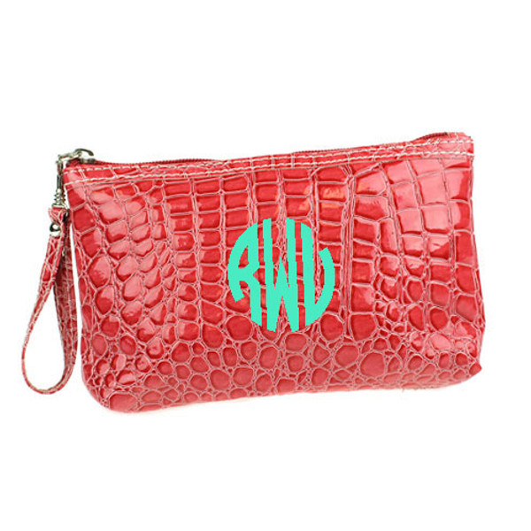 Monogrammed Croc Wristlet www.tinytulip.com Coral Wristlet with Mint Circle Font