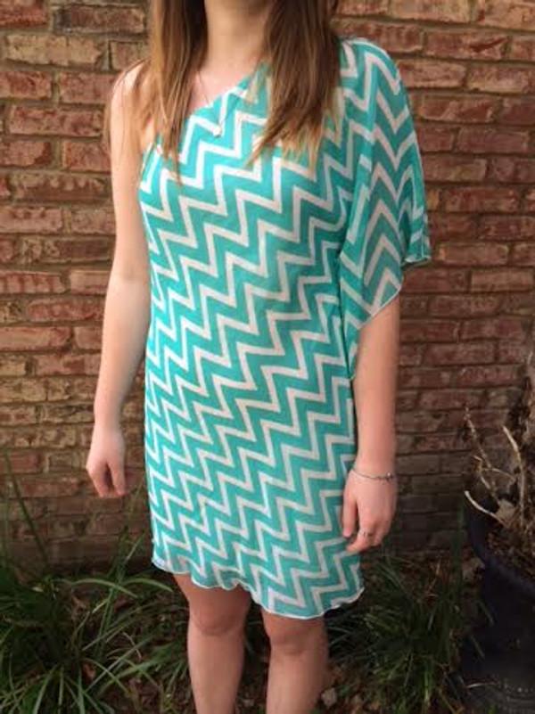 Mint Off the Shoulder Chevron Dress www.tinytulip.com
