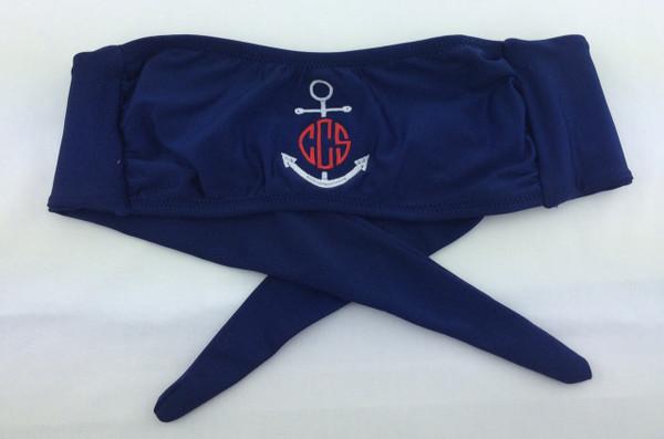 Monogrammed Anchor Bandeau Bathing Suit Top www.tinytulip.com