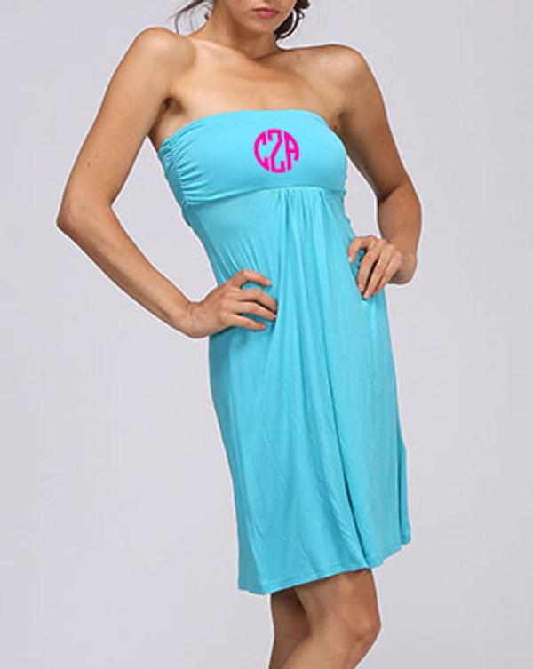 Monogrammed Strapless Tube Dress Swim Cover up