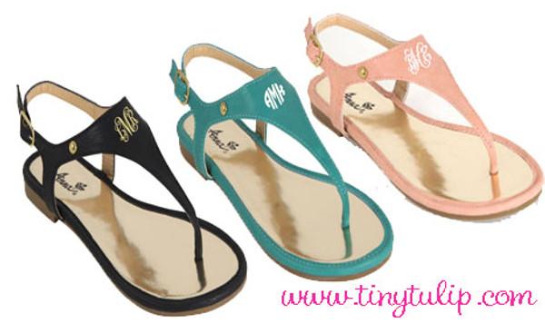 Monogrammed Thong Sandals www.tinytulip.com