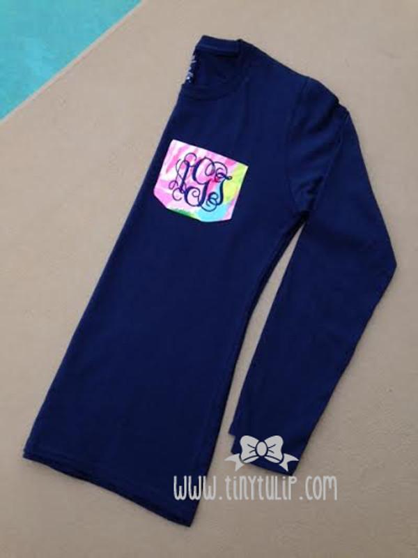 Lilly Pulitzer Pocket TShirt www.tinytulip.com Navy Interlocking with First Impression on Navy Shirt