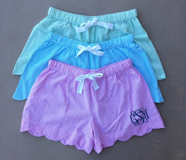 Monogrammed Seersucker Scallop Shorts www.tinytulip.com